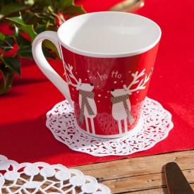 SERWETKI świąteczne dekoracyjne pod szklanki Biała Koronka 11cm 50szt
