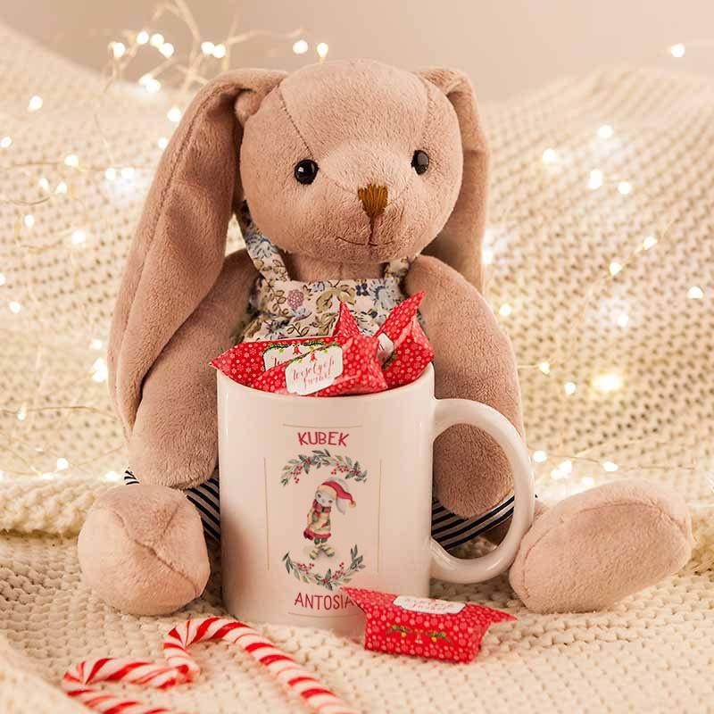 kubek świąteczny i maskotka na prezent dla dziecka