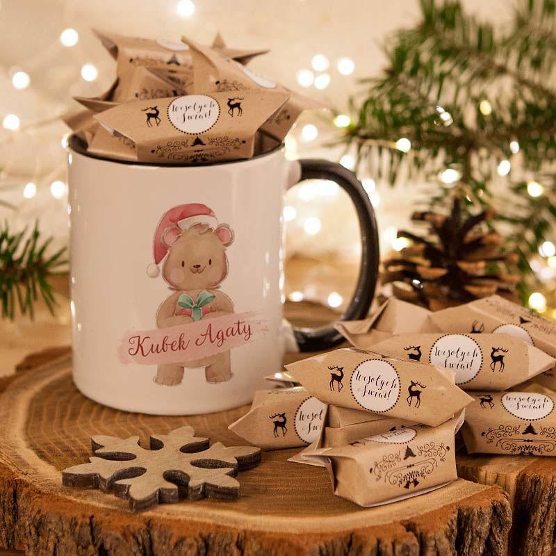 Kubek świąteczny na prezent dla dziecka z imieniem