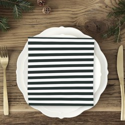 SERWETKI świąteczne czarno-białe paski 33x33cm 20szt