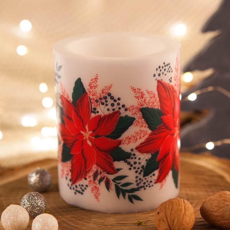 Świąteczna świeca o zapachu Poinsecji