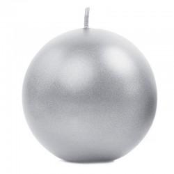 ŚWIECE świąteczne kule metaliczne Ø8cm 6szt SREBRNE