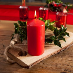 ŚWIECA świąteczna pieńkowa 12cmx6cm CZERWONA