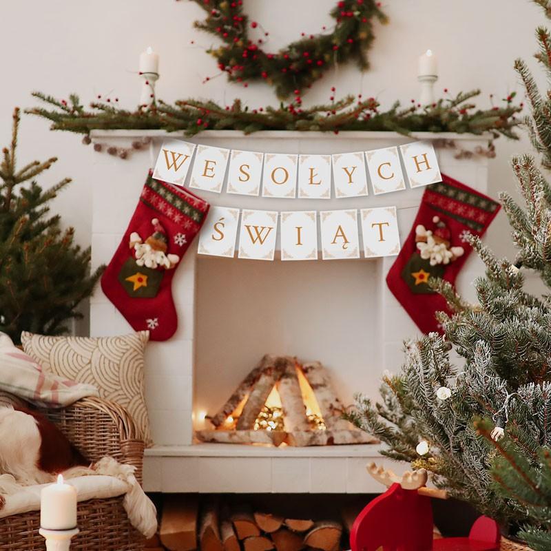 Baner świąteczny w kolorze biało- złotym