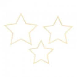 ZAWIESZKI dekoracyjne drewniane Gwiazdy 3 sztuki
