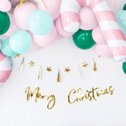 BANER świąteczny z napisem Merry Christmas ZŁOTY 83x21,5cm