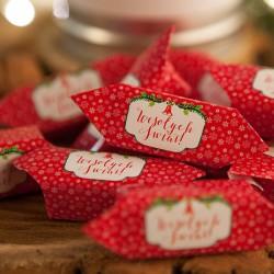 PREZENT świąteczny Kanka z krówkami Z ŻYCZENIAMI od Ciebie Czerwone Święta