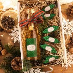 KOSZ prezentowy świąteczny Szampan+krówki z ŻYCZENIAMI od Ciebie Zielony