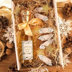 KOSZ prezentowy świąteczny Szampan+krówki z ŻYCZENIAMI od Ciebie Złoty