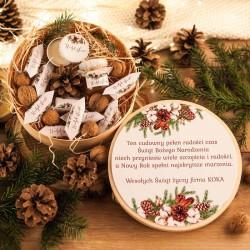 KOSZ prezentowy świąteczny firmowy w pudełkuz ŻYCZENIAMI od Ciebie Naturalne Święta