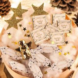 KOSZ prezentowy świąteczny firmowy w pudełku z ŻYCZENIAMI od Ciebie Bombki i Gwiazdki