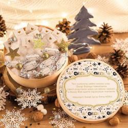 KOSZ prezentowy świąteczny SŁODKI z ŻYCZENIAMI od Ciebie Bombki i Gwiazdki