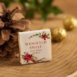 CZEKOLADKA świąteczna na prezent firmowy Poinsecja personalizowana