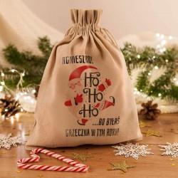 WOREK na prezenty świąteczne lniany Z IMIENIEM Mikołaj 26x35cm
