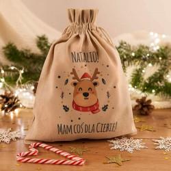 WOREK na prezenty świąteczne lniany Z IMIENIEM Renifer 26x35cm