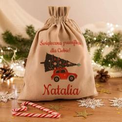 WOREK na prezenty świąteczne lniany Z IMIENIEM Świąteczna przesyłka 26x35cm