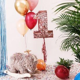 PINIATA na Roczek zabawa urodzinowa Rosegold 28,5x40,5x8cm