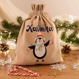 WOREK na prezenty świąteczne lniany Z IMIENIEM Pingwinek 26x35cm