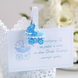 KLAMERKI dekoracyjne z błękitnym wózkiem 8szt