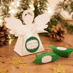 PUDEŁECZKA Aniołek prezent świąteczny Zielone Święta 10szt (+etykiety+wstążka)