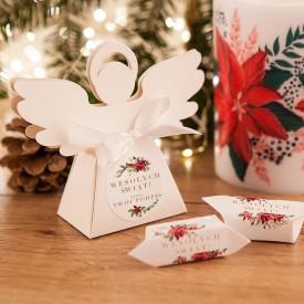 PUDEŁECZKA Aniołek prezent świąteczny Poinsecja 10szt (+etykiety+wstążka)