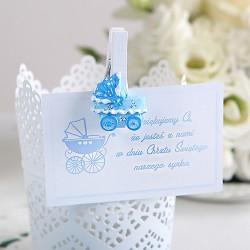 BILECIKI podziękowanie Błękitny Wózek 20szt.