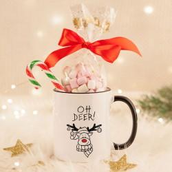 KUBEK świąteczny na prezent + pianki Marshmallow Z IMIENIEM Oh Deer