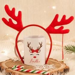 KUBEK świąteczny na prezent + opaska Renifera Z IMIENIEM