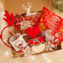 KOSZ prezentowy Z TWOIM PODPISEM Świąteczne Renifery