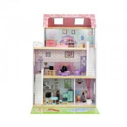 PREZENT Domek dla lalek drewniany GIGANT 90cm +24 elementy