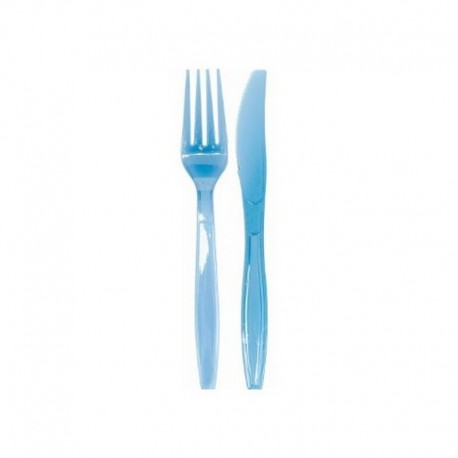 SZTUĆCE plastikowe widelce + noże BŁĘKITNE 10kpl