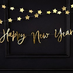 BANER girlanda na Sylwestra Happy New Year 66x18cm ZŁOTY