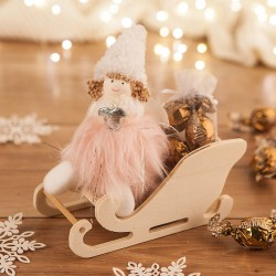 PREZENT świąteczny dla dziecka Aniołek z futerkiem na sankach Róż