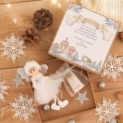 PREZENT świąteczny dla dziecka Aniołek Reniferek w pudełku na pieniążki Biały