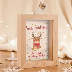 SKARBONKA drewniana na prezent świąteczny z szybką Z IMIENIEM Premia Świąteczna