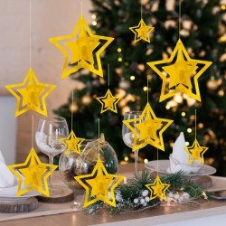 GIRLANDA świąteczna na okno Złote Gwiazdki EFEKT 3D 11szt
