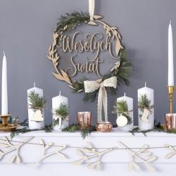 DEKORACJA świąteczna wieniec drewniany Wesołych Świąt