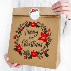 TOREBKI na prezenty Merry Christmas KRAFT 3szt