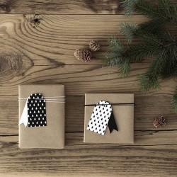 ZAWIESZKI świąteczne do prezentów choinki biało-czarne 12szt MIX 3,9x7cm