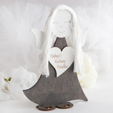 PREZENT na Dzień Dziadka anioł drewniany filcowe skrzydełka 23cm