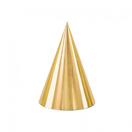 CZAPECZKI urodzinowe Złote Metaliczne 6szt