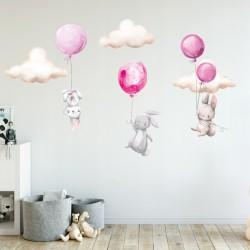 NAKLEJKI na ścianę do pokoju dziecka Króliczki 50x100cm
