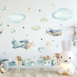 NAKLEJKI na ścianę do pokoju dziecka Chłopięcy Świat 55x100cm
