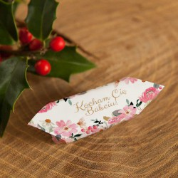 PREZENT na dzień Babci Kanka z krówkami z ŻYCZENIAMI Różowe Kwiaty