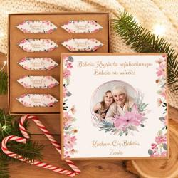 PREZENT na Dzień Babci Pudełko z krówkami ZE ZDJĘCIEM Różowe Kwiaty