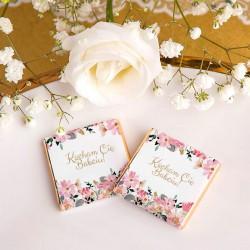 CZEKOLADKI na prezent na Dzień Babci Różowe Kwiaty 10szt