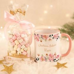 PREZENT na Dzień Babci kubek + pianki Marshmallow Z IMIENIEM Różowe Kwiaty