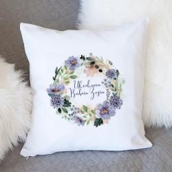 PREZENT dla Babci poduszka Fioletowe Kwiaty Z IMIENIEM