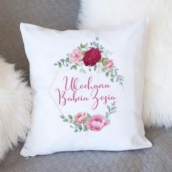 PREZENT dla Babci poduszka Róże Z IMIENIEM