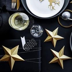 DEKORACJA Świąteczna Papierowe Gwiazdy 6szt ZŁOTE